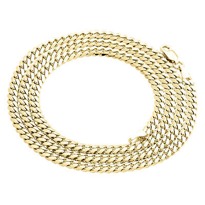 Mens Real 10K Yellow Gold Super Solid Miami Cuban Link Chain 4mm Necklace 22-30""