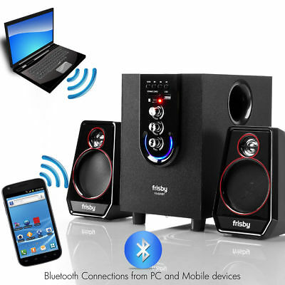Home Office Computer Laptop PC 2 Speaker Bluetooth Audio System Subwoofer Remote