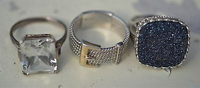 Sterling Silver Ring Lot-Dealers Collectors-Fashion Rings-Free Usa Shipping 925