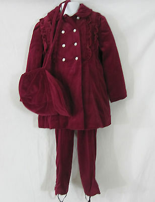 Cute Togs Girls Vintage Maroon Velvet Coat Hat Leggings Vintage 1950s ILGWU 3-4T