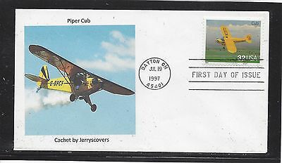 Piper Cub Fdc 1997 Dayton, Ohio Only One Made Airplane