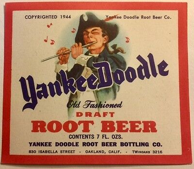 Yankee Doodle Draft Root Beer Label - Oakland, CA - 1944 - FREE SHIPPING
