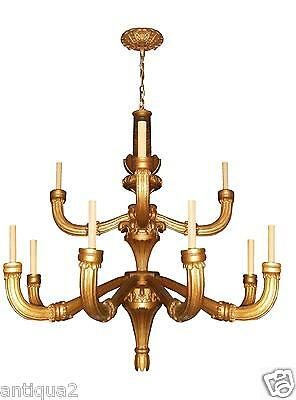Giant 5' Diam. Carved Gilded Wood Italian Neoclassical Chandelier Pair Available