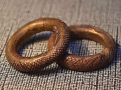 2 Antique Yoruba Lost Wax Cast Brass Rings, Old African CURRENCY, Nigeria Africa