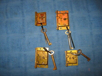 Antique Chest-Furniture-Cabinet-Box Locks With Keys & Plates Junk Drawer Lot