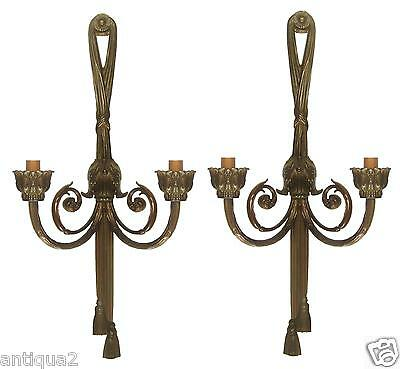 "Pair French Bronze 27"" Empire Swag Tassel Neoclassic Sconces Electrified Jansen"