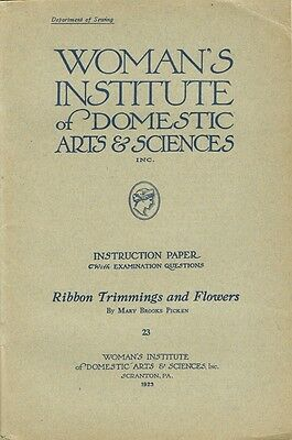 1920s Brooks Picken Woman's Institute Sewing Book 23 Ribbon Trimmings & Flowers