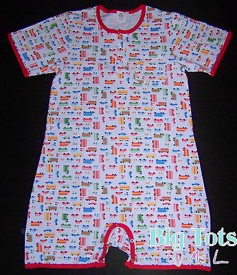 Adult Baby TRANSPORTATION pocket romper,snap front snap*Big Tots Exclusive*
