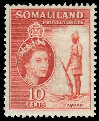"SOMALILAND 129 (SG138) - QEII ""Askari Warrior"" 1953 Red Orange (pa82463)"