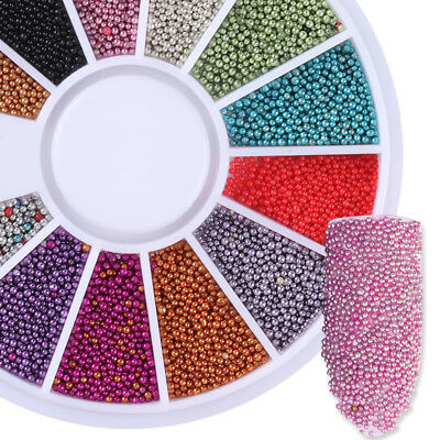 12 Color/Box Steel Ball Beads Nail Art Glitter Manicure 3D Acrylic Decoration