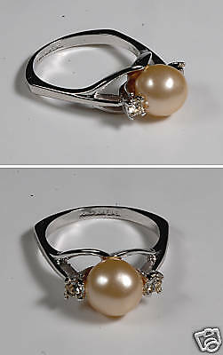 Faux Pearl Sterling Espo Silver Tone Vintage Ring Jewel