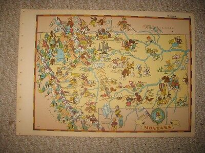 Antique 1935 Montana Our Usa A Gay Geography Cartoon Pictorial Map Stereotype Nr