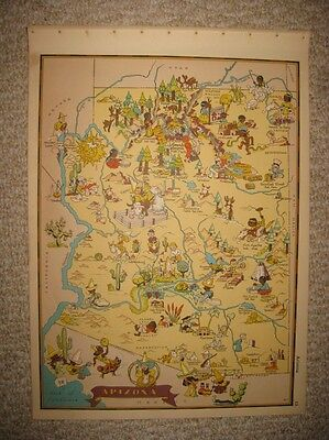 Antique 1935 Arizona Our Usa A Gay Geography Cartoon Pictorial Map Stereotype Nr