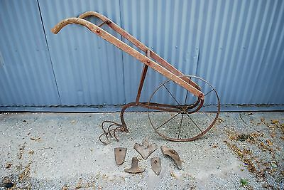 Pick Up Only Vintage Antique Walk Behind Hand Plow W/attachments Old Farm Tool