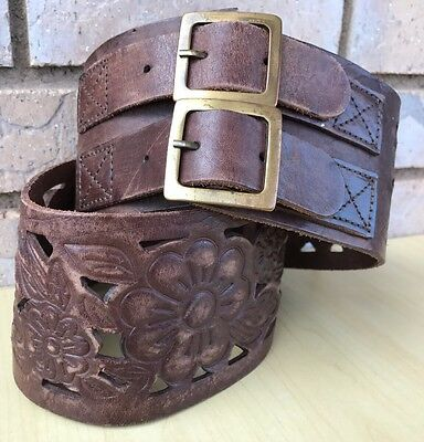 UNBRANDED Brown Thick Leather Belt Floral Cut Outs Double Buckle Women's Size 32