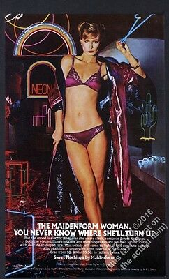 1981 Maidenform lingerie woman in purple bra panties nightclub photo print ad