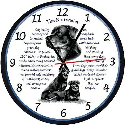 Rottweiler Dogs  Origins & Facts Gift Boxed Wall Clock