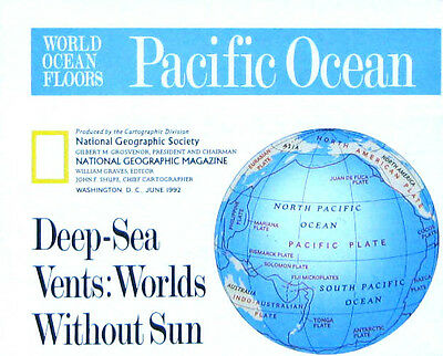 Vintage National Geographic Map Poster Pacific and Indian Ocean Floors 1992