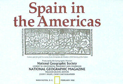 Vintage National Geographic Map Poster Spain in the Americas 1992