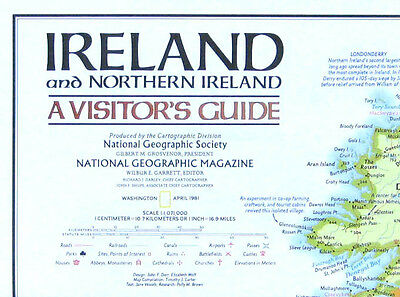 Vintage National Geographic Map Poster Ireland and Northern Ireland 1981
