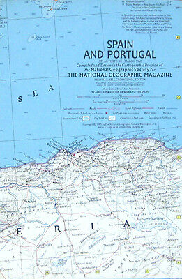 Vintage National Geographic Map Poster Spain and Portugal 1965