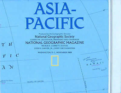 Vintage National Geographic Map Poster Asia Pacific 1989