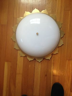 "Large Sun with Glass Moon Shade 20"" Ceiling Light Fixture Mid Century Style"