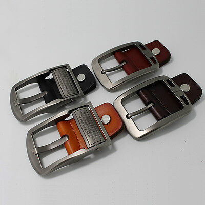 Alloy Pin Buckle for Men Genuine Leather Belt Strap Spare Replacement Black 38mm