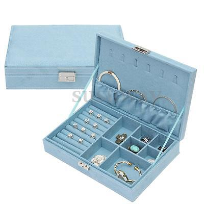 Velvet Jewelry Earrings Necklace Cabinet Storage Organiser Case Display  Box