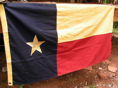 State of Texas cloth Flag Tea Stained Cotton Distressed 58 L 32 T