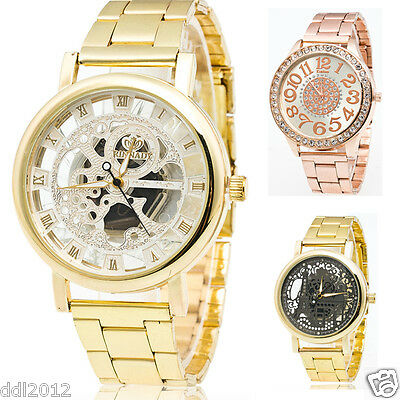 Luxury Men's Stainless Steel Hollow Crystal Dial Waterproof Quartz Wrist Watches