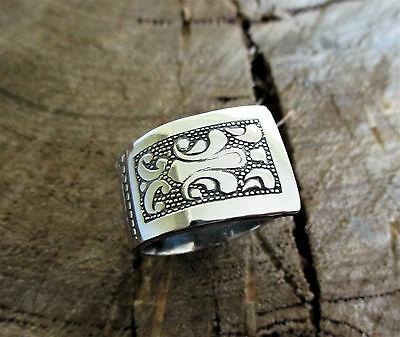 Handcrafted Stainless Steel Patterned Spoon Ring Size 10.5 BSR76