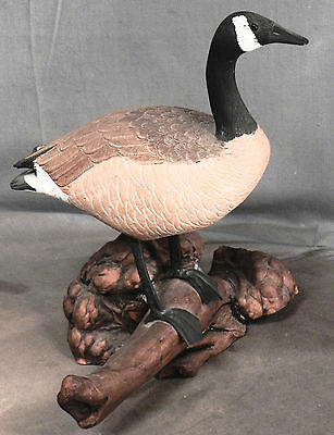 Vintage Hand Carved Canada Goose Decoy MINIATURE Root Burl Base Signed Iron Legs