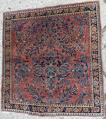 Antique Oriental Persian Rug Square Lilihan REPAIRED Carpet Sarough Sarouk 4x4