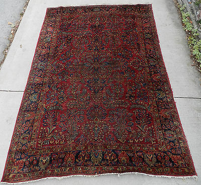 Antique Oriental Persian Rug Handmade Wool Carpet Sarough Sarouk 7x10 1925
