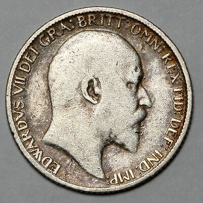 1910 King Edward Vii Great Britain Silver Sixpence Six Pence 6D Coin