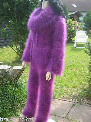 X216 Longhair Mohair Catsuit Overall Wollanzug Cowlneck Fetish Ouvert 5 Sizes