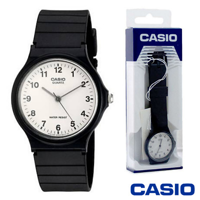 Casio Mens Quartz Watch With White Dial Analogue Display And Black Resin Strap