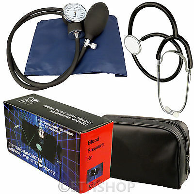 Aneroid Sphygmomanometer Blood Pressure Monitor Meter & Stethoscope Medical Kit
