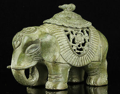 China Collectible Old Handwork Carving Bronze Good Luck Elephant Statue Ornament