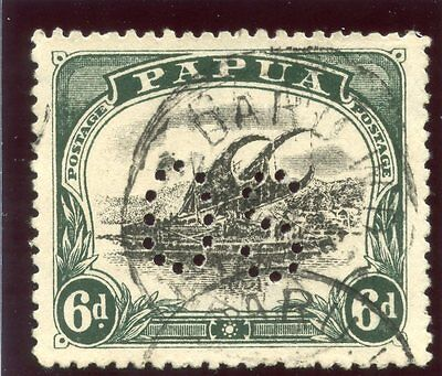 "Papua 1910 ""Lakatoi"" Official 6d black & myrtle-green very fine used. SG O34."