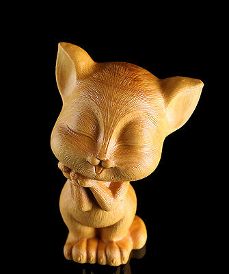 JP099 --- 7.8*5.7*5.0 CM Carved Boxwood Carving Figurine - Beautiful Cat