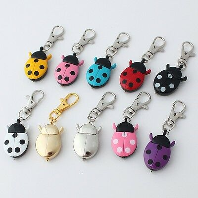 Mixed 10pcs Ladybug Pocket Pendant Key Ring Chain Quartz Watches Gifts GL02KT