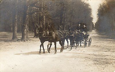 Vintage Postcard Carriage & Four Horses Top Hats Driving Rp