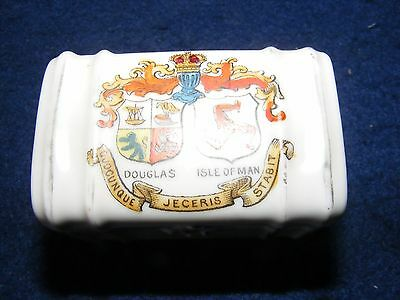Vintage Crested China Douglas Isle Of Man Chest Trunk Strong Box Lidded Gemma