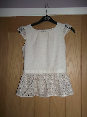 Lovely Girls Cream Lined Lace Peplum Miss Evie Top. Age 10-11. Good Condition.