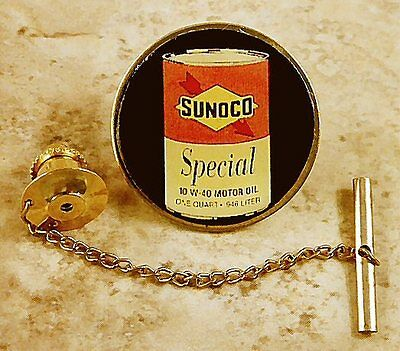 Sunoco Oil Can Tie Tack Pin and Chain Clasp