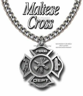 "LARGE PROUD FIRE FIGHTER NECKLACE FIREMAN FIREFIGHTER RESCUE HEAVY 24"" CHAIN P z"