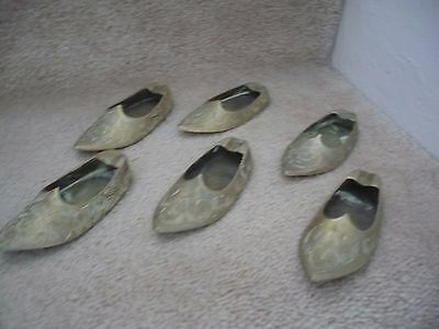 Three Pairs Of Brass Slipper Ashtrays All With Beautiful Engravings