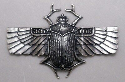 #3006 LRG DAPPED LONG WINGED ANTIQUED SS/P SCARAB BEETLE - 1 Pc Lot